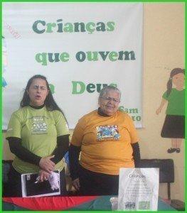 Irmã Oraides e irmã Viviane, líderes do departamento infantojuvenil da Área