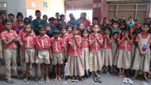 Parte dos alunos da escola de Markapur