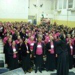 PARTICIPAÇÃO DA UNIÃO FEMININA NO CULTO DE DOUTRINA DA SEDE INTERNACIONAL NO MÊS DE MAIO